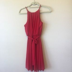 Red halter dress with lace trim